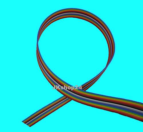 FLACHBANDKABEL 16-Adrig/Polig/Pin|Meterware (EUR 3,99/m)|FLACHBANDLEITUNG-AWG28 im 1,27mm-Raster (Pitch) | Farbige FBL/Rasterstegleitung mit IEC-Ader-Farbfolge | Flache, flexible, Band-Leitung/Kabel