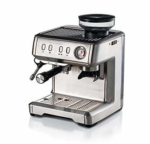 Ariete 1313 Cafetera Espresso de Metal Monodosis, 1600W, 15 Bars, 2 Litros,Café En Polvo Y Ese Pods, Cappuccino, Molinillo Integrado, Cuerpo Acero Inoxidable