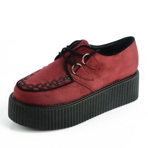 RoseG RoseG Damen Schnürschuhe Flache Plateauschuhe Gote Punk Creepers Schuhe Rot 39