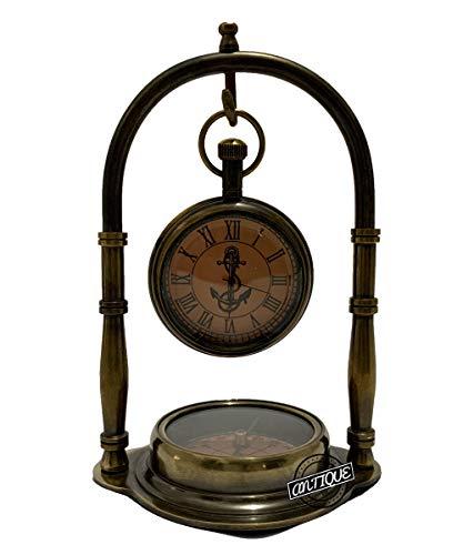 Reloj de escritorio vintage de latón marítimo con brújula náutica antigua Victoria London, para decoración del hogar, regalos de oficina (acabado antiguo)