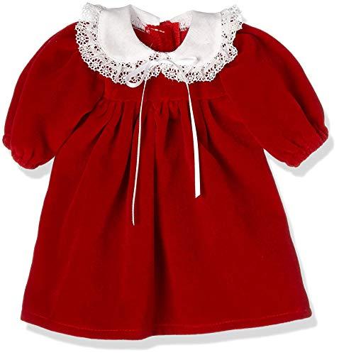 Puppenmode Sturm 2601-4 sammetsklänning med bubikrage för dockor, röd