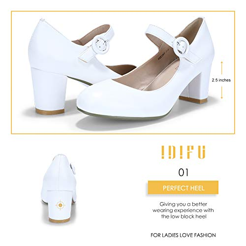 IDIFU Women's Candy Mary Jane Shoes Low Chunky Block Heels Round Toe Office Work Homecoming Pumps(White Pu, 7.5)