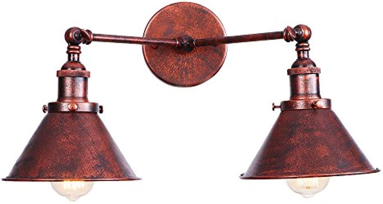CX AMZ Doppelkopf-Wandleuchte,kreatives Geschenklicht, Persnlichkeit-Nachttischlampen,einstellbares Schmiedeeisen 180 Grad,Wandmontage-Wandleuchte E27-Sockelbefestigung,braun