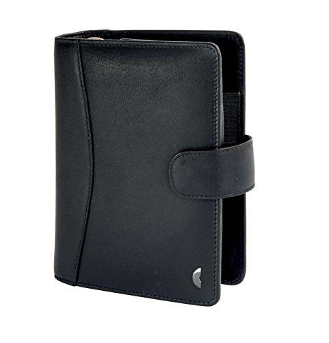 Chronoplan 50174 nachfüllbarer Terminplaner / Organizer / Terminkalender Mappe aus Premium Vollrindleder (Format Midi (150 x 190 mm) mit Lasche, Ringbuch, ohne Kalendarium) schwarz