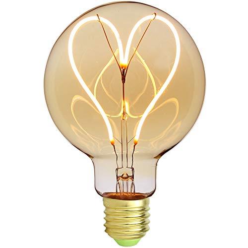 Ampoule Edison vintage classique G95– Motif cœur – Filament LED doux – Verre ambré – 4 W – Modulable – 220/240V – Culot E27