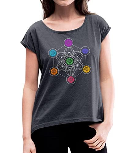 Spreadshirt Energiezentren Metatron Würfel Chakra Chakren Frauen T-Shirt mit gerollten Ärmeln, S, Navy meliert