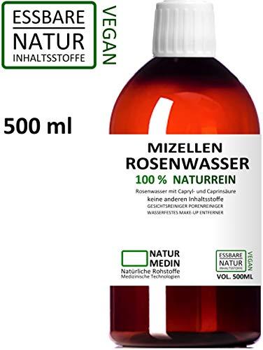 MIZELLEN ROSENWASSER 500-ml, Mizellenwasser, Gesichtswasser, 100% naturrein, nur 2 essbare Inhalsstoffe ohne Zusatzstoffe, wasserfestes Augen Make-up Entferner, PET nachhaltig