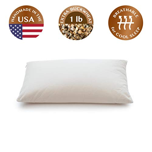"""ComfyComfy Buckwheat Hull Pillow, Classic Size (14"""" x 23""""), with Extra 1 lb of Buckwheat Hulls,..."""