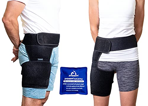 Hip and Thigh Compression Sleeve for Groin & Hamstring Support with Reusable Hot and Ice Gel Pack for Hot & Cold Compression   Comfortable Sleeve for Men and Women   AireSupport by Dr. Hammond