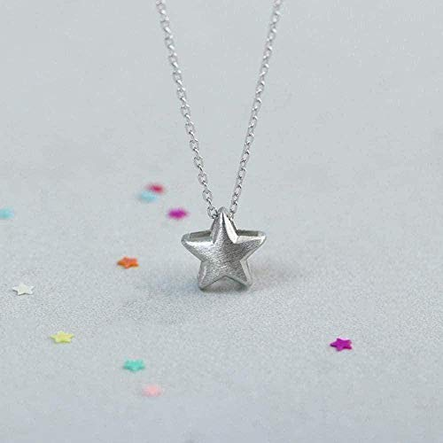 ZHIFUBA Co.,Ltd Collar Collar Cepillado Collar de Cadena de Estrella de Cinco Puntas Colgante de Plata para Mujer Color Plateado Joyas para Mujer Colgante de Plata Decoración Collar de Adorno Regalo