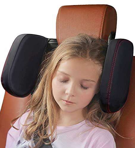 [Extended Edition] Car Headrest Pillow for Kids, Buluby Premium Sleeping Head & Neck Support for Rear Seat Passengers -Black