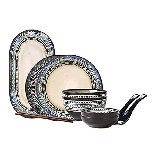 Accesorios diarios Juego de vajilla de cocina Cerámica Cereales y Sopas Tazones Tazones de Porcelana Plato de Cena Set de Tazón Conjuntos de Microondas y Lavavajillas 11 Piezas