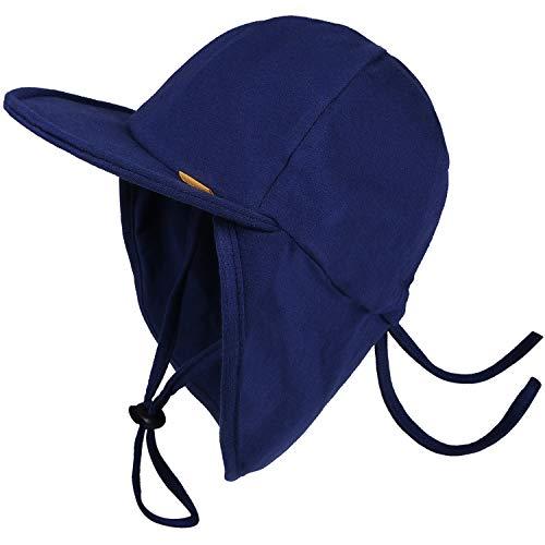 FURTALK Kleinkind Sonnenhut UPF 50+ Ganztägiger UV-Schutz Kappe Mädchen & Jungen Sommer Kappe mit Verstellbarer Kinnriemen und Halsklappen (Navy blau, 0-2Jahre)