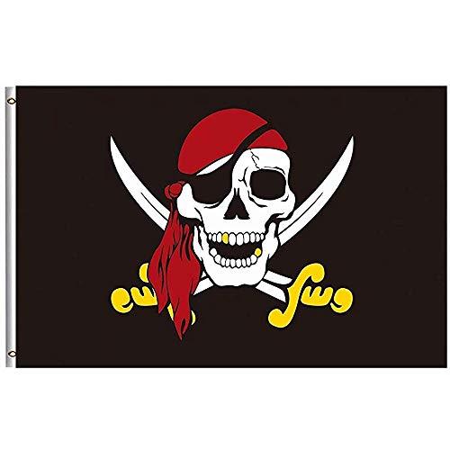 Tuinvlaggen Jolly Roger Vlag Piraat Vlaggen 32X45.7CM FT Messing Grommets Caribische Kapitein Schedel Rode Sjaal Goud Zwaard Huis Yard Vlag Banner Boot Zeilen Boating Bar Indoor Outdoor Thuis Feestaccessoire