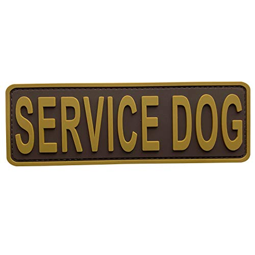 uuKen Service Dog Patch 6x2 inches Coyote Tan Hook Back K9 Working Dog in Training PVC Military Tactical for Tactical Vest Harness K9 Collar (Coyote Tan, 6'x2')