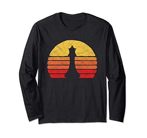 Queen Vintage Chess Piece & Retro 80s Sunset Distressed 長袖Tシャツ