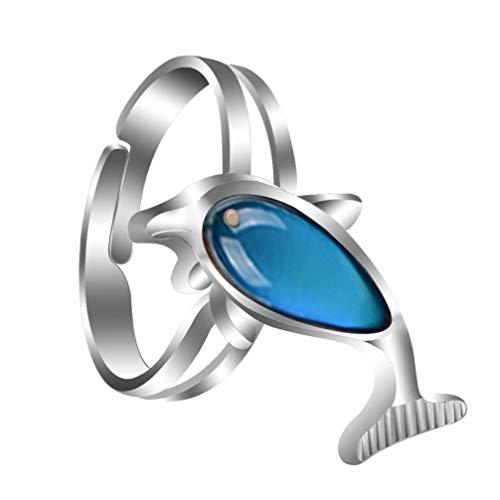 Happyyami Anillo de Estado de Ánimo Cambio de Color Emoción Sentimiento Anillo de Dedo en Forma de Delfín Anillo de Cristal Termómetro Sensor Accesorio de Dedo para Mujeres Niñas