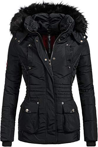 Marikoo Damen Winter Jacke Steppjacke Vanilla Schwarz Gr. M