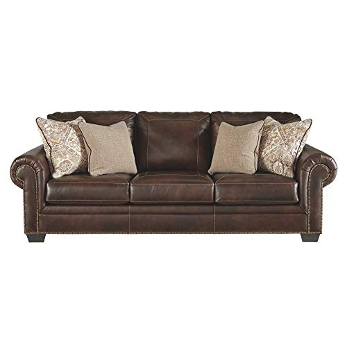 Signature Design by Ashley - Roleson Traditional Faux Leather Sofa Sleeper w/ 4 Accent Pillows - Queen Mattress, Walnut