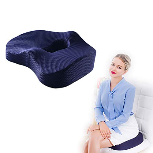 Ergonomics Memory Foam Breathable Mesh Office Chair Cushion, for Back Coccyx and Hip Pain Relief, Suitable for Home, Office, Car, Wheelchair,Blue