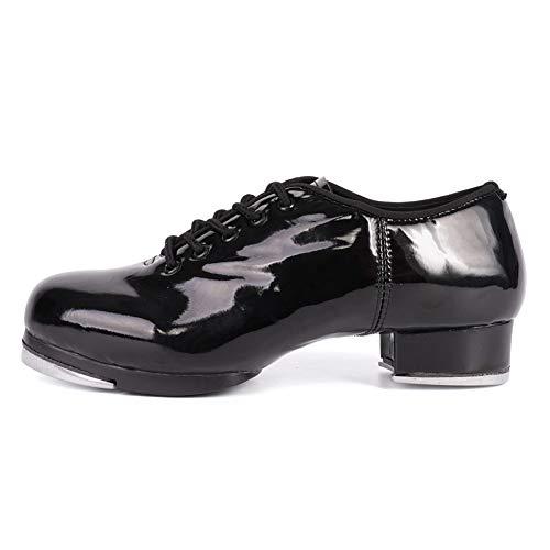 HROYL Hombres y Mujeres Zapatos Tap Zapatos Tap Dance Mujer Hombre TipTap Zapatos de Baile,CL2,Negro-3.5,EU31