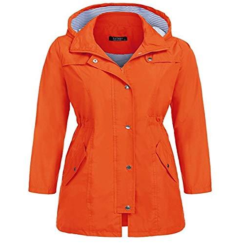 Katenyl Chaqueta cortavientos con capucha de media longitud para mujer Moda casual Botón con cremallera impermeable Abrigo ajustado con bolsillos S
