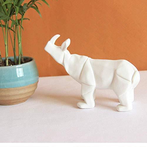 Skulptur Statuette Keramik Nashorn Statue Modern Abstract White Geometric Animal Figur Spanische Stierkampfskulptur für Büro Wohnzimmer Dekoration