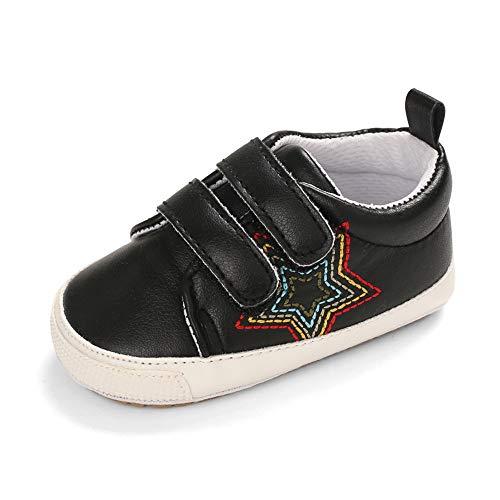 Cheerful Mario Zapatillas de Cuero para bebé Niñas Niños Primeros Pasos Zapatos para Niños Pequeños Suave Suela Antideslizante Negro 12-18 Meses