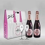Maletín EDONÉ Rosé Extra Brut 2 botellas con 2 copas