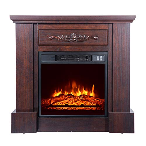 rarembellish 32' Wood Brown Fireplace Cabinet 1400W, Electric Fireplace Tabletop Space Heater Freestanding Fireplace