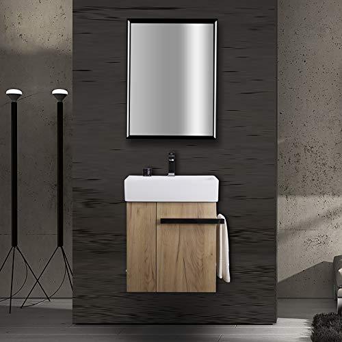 Badmöbel-Set Compact 500 für Gäste-WC - Eiche-Optik, Ablaufgarnitur/Pop-up:Mit Ablaufgarnitur
