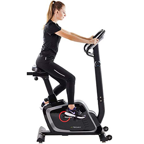 TechFit B470 Magnetic Fitness Exercise Bike, Weightloss Resistance Cardio Machine with Adjustable Saddle, Pulse Sensors and LCD Monitor Bikes Exercise flywheel indoor magnetic