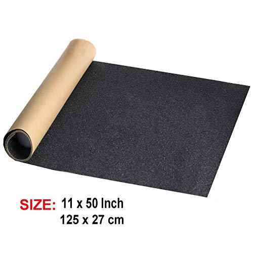 """ZUEXT 11"""" x 50"""" Black Skateboard Grip Tape Sheet, Bubble Free Waterproof Scooter Grip Tape, Longboard Griptape, Sandpaper for Rollerboard, Stairs, Gun, Pedal, Pistol, Wheelchair, Steps (125x27cm)"""