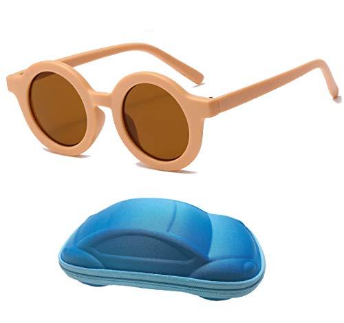 YAMEIZE Gafas de Sol Para Niños con Protección UV400, Lindas Gafas Redondas Para Niños Pequeños, Niñas de 2 a 7 Años (Light pink frame& Tea)