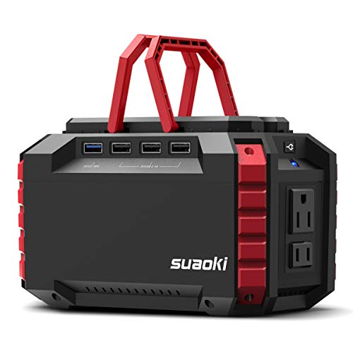 SUAOKI Portable Power Station, 150Wh/100W Camping Generator Lithium Power Supply UL Certified with Dual 110V AC Inverter Outlet, 4 DC & 4 USB Ports, LED Flashlights for Camping Travel Emergency Backup