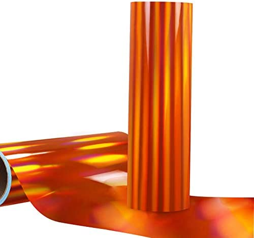 Glossy Holographic Orange Adhesive Vinyl Roll Craft Vinyl for Signs Letters 12 x6ft Compatible product image