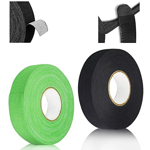 DURANTEY 2 Roll Hockey Tape Stick, Anti Slip Hockey Stick Grip Tape 2.5cm*25m Baseball Tape Cloth Ice Hockey Tape, Athletic Tape for Badminton Grip, Ping pong Racket(Green & Black)