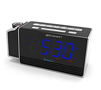 Emerson SmartSet Projection Alarm Clock Radio with USB Charging for Iphone/Ipad/Ipod/Android and Tablets Digital FM Radio 1.4  Blue LED Display 4 level Dimmer ER100103