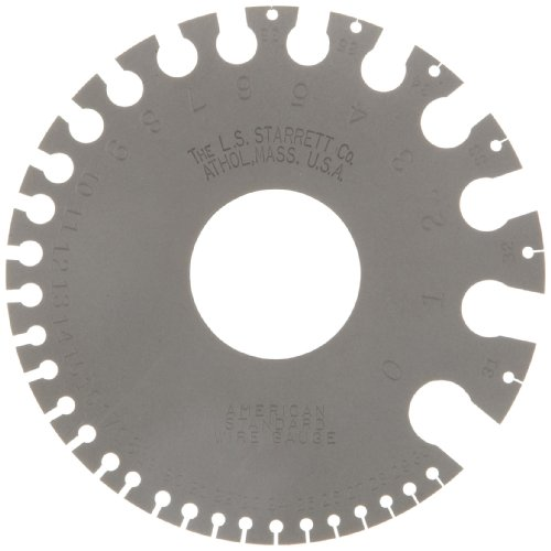 Starrett 281 American Standard Wire Gage, Hardened, Satin Finish, Numbers 0-36, 0.325-0.005