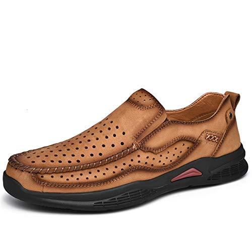 Zapatos casuales Zapatos casuales para hombres, zapatos de grifo perforados ligeros de cuero, toe redondo transpirable color sólido de puntada a mano (Color : Yellow Perforated, Size : 40 EU)
