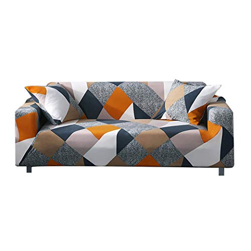 Bikuer Printed Sofa Cover Stretch Couch Cover Sofa Slipcovers for Cushion Couch with 2 Free Pillow Cover (Large, Cube)