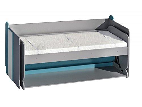 Jugendbett und Schreibtisch Futuro F14, Multifunktionsbett, Schrankbett mit Schreibtisch, Wandbett, Funktionsbett für Jugendzimmer (Weiß/Graphite/Türkis)