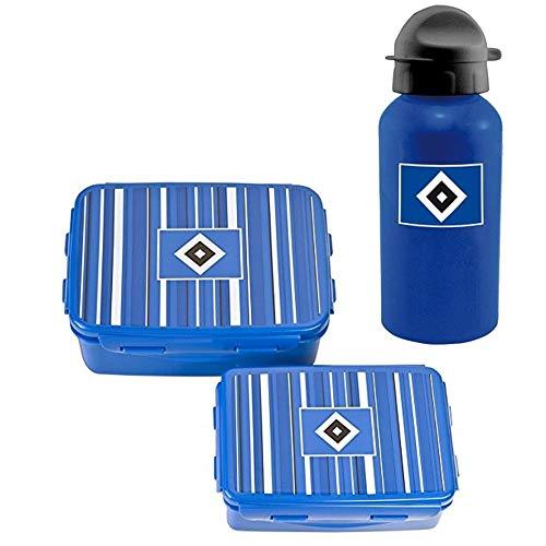Hamburger SV Brotdose 2er Set Lunchbox Clip & Close + Trinkflasche
