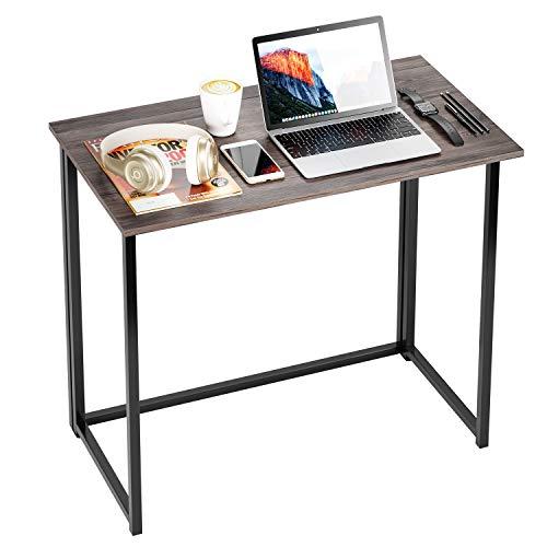 Mesa Escritorio Plegable Escritorio Pequeño Escritorio Ordenador para Estudio Despacho Oficina Salón Estilo Industial Vintage Gris 80×45.5×74cm