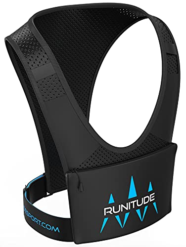 Runitude Chaleco de Running Porta Teléfono - Mochila para Móvil para Correr - Reflectante, Ligera, Bolsa Impermeable, Bolsillo para Llaves (Hombre y Mujer)