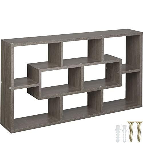 tectake 800849 Wandregal mit 8 Fächern, Holz Hängeregal (BxHxT): ca. 85 x 48 x 16 cm, inkl. Montagematerial (Eiche geschliffen)