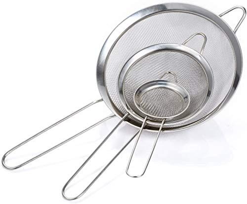 N\C Set di setaccio da Cucina a Maglia fine in 3 Misure di Alta qualità in Acciaio Inossidabile 7/12/18cm, per Farina da Cucina, Quinoa, Riso, Pasta, Zucchero a Velo e Altro