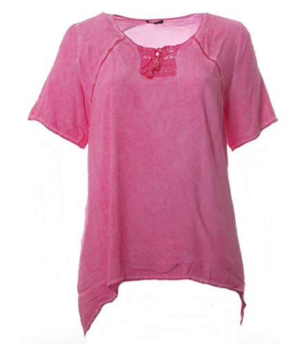 No Secret Tunika-Shirt Damen Rosa Sommer Kurzarm große Größen T-Shirt Bluse, Größe:52