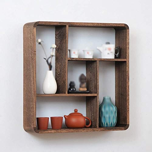 Chinese Wall Mount/Wooden Ornaments/Wall Rack Tea/Antique Frame/Living Room Rectangular Frame/Bedroom Kitchen Storage Rack /,Brown