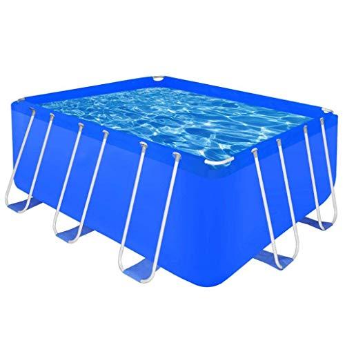 Mnjin Haushaltsschwimmbad Oberirdisches Schwimmbecken Rechteckige Schwimmbecken aus Stahl Einfach zur Aufbewahrung und zum Transport bei Nichtgebrauch zusammenklappen